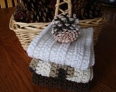 Rags With Ridges - Set of 3 Cotton Washcloths in White, Brown and Chocolate Ombre