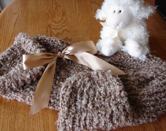 Warm n Fuzzy Cocoon - Knitted Baby Pod with Matching Hat in Cappuccino