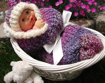 Light n Lovely Baby Cocoon - Knitted Baby Pod with Matching Hat in Mixed Berries and Cream