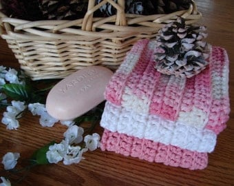 Rags With Ridges - Set of 3 Washcloths in Strawberry, White and Country Pink