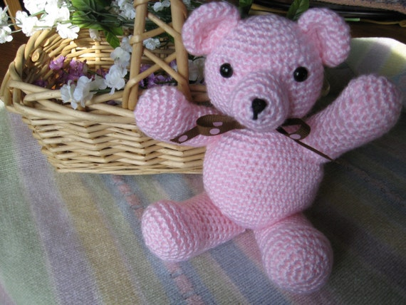 Penelope the Pink Bear Crocheted Baby Toy