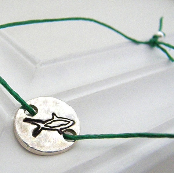 Shark Bracelet - Hand Stamped Silver Wish Bracelet on Etsy