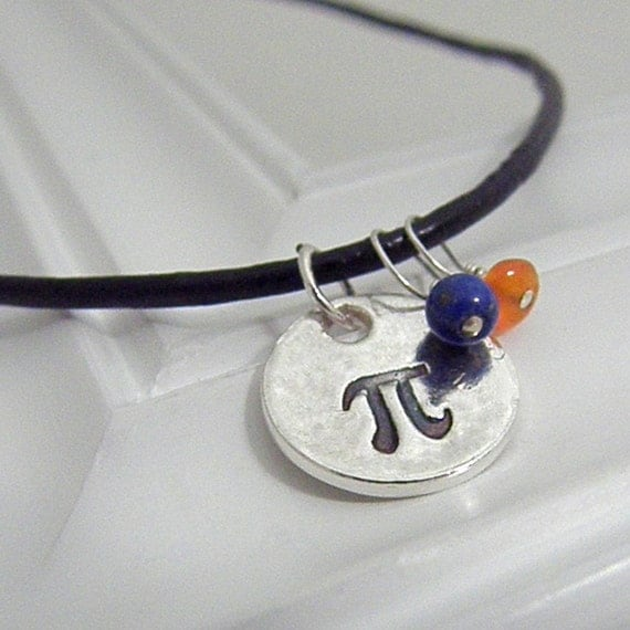 Pi Necklace - Hand Stamped Silver with Leather Cord on Etsy