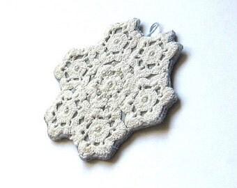 Velvet pendant/ circle/ white doily on aqua