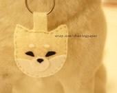 Felt Key Chain - Cream Shiba Inu Puppy (MADE TO ORDER)