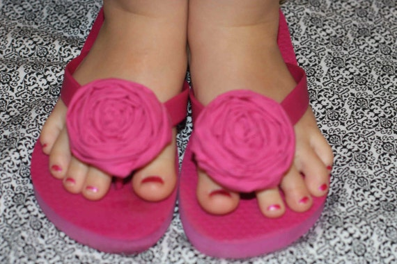 Custom Order for Classically Clean Pink Panther rolled rose flip flops for little girls and big girls