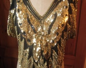 Vintage 80's sequin black\/gold silk butterfly top
