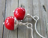 tomato red fossil, sterling silver, shiny - earrings