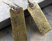 handmade brass rectangle, flower, copper rivet earrings