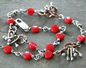 Red Coral Sterling Silver Copper Anklet Knots & Bows Chunky Copper Chain Ankle Bracelet Artisan Jewelry