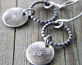 Custom Stamped Sterling Silver Disk Earrings Oxidized Fused Beaded Wire Ring - Handmade to Order