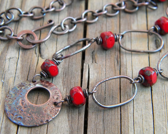 Red Glass Necklace Handmade Copper Oblong Links Rustic Eternity Jewelry