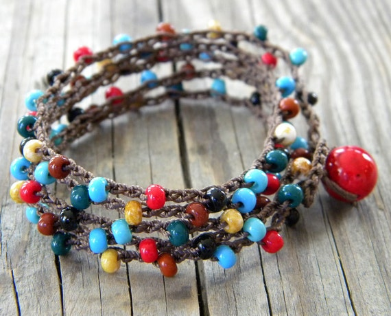 red, turquoise, black, earthy gold, forest green, burnt umber beaded bohemian wrap crocheted brown nylon cord bracelet / necklace - cherokee