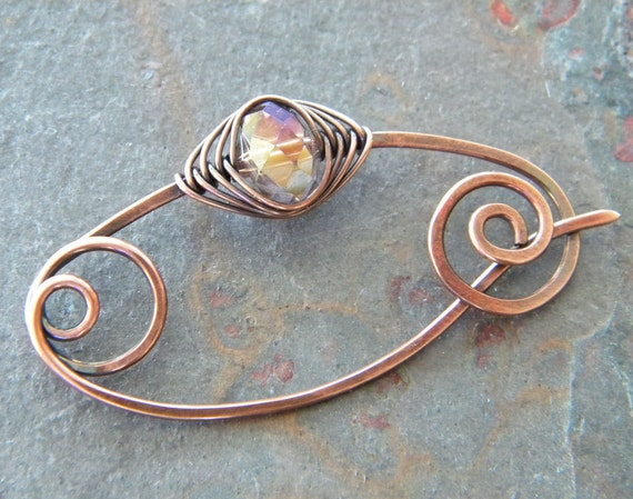 iridescent copper wire-wrapped fibula pin shawl, scarf, sweater artisan brooch