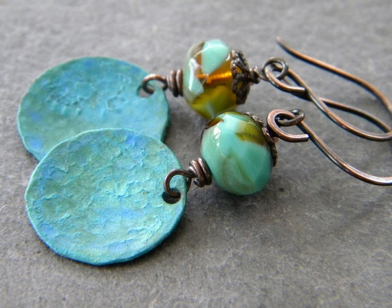 aqua blue, amber glass, blue green patina copper earrings