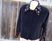 "Black Cotton Velveteen Jacket with Hand Painted Metallic Leaves: ""Relished Fall"""
