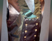 "Mens Swallowtail Vest of Sage Green Satin with Dagged Collar: ""Relished Ringmaster 1"""