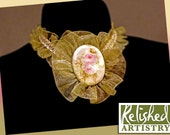 Ribbon Choker with Vintage Hand Painted China Brooch of Roses on Sage Green Organdy Floret