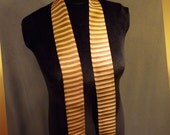 Silk Scarf Tie Cravat of Gold and Burgundy Stripes