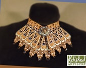 Copper and Blue Lace Choker Jabot with Spider Pendant and Rhinestones