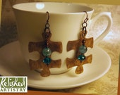 Resined Kraft Paper Puzzle Piece Earring with Copper, Teal, and Aqua Glass Beads