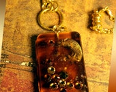 Amber Resin Pendant Necklace with Moon Charm, Glitter and Rhinestone Inclusions