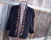 "Black Velveteen Jacket with Hand Painted Metallic Leaf Motif on Lapels: ""Falling Leafy Relish"""