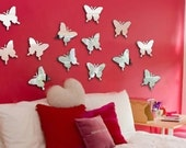 Mini butterflies wall acrylic resin mirrors - set of 20