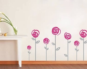 Swirl poppies bi color graphic surface vinyl art