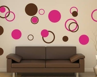 Bubbly circles vinyl wall stencils-  Set ot 60
