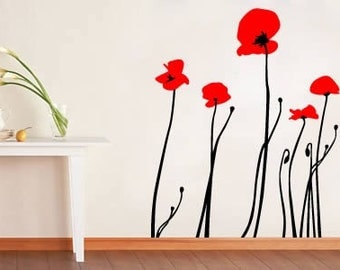 Bi Color Poppies Decorative Wall Stickers