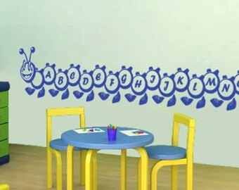 A to Z Alphabet Caterpillar wall stickers