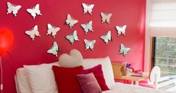 Mini butterflies wall acrylic resin mirrors - set of 20
