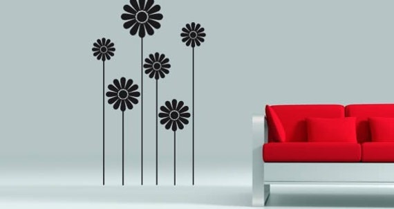 Items similar to pakerette wall stickers on etsy - Wall flower design ...