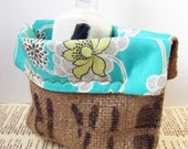 Burlap Coffee Bag Organizer - with Amy Butler Fabric Liner - Upcycled Burlap