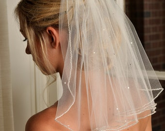 IVORY Veil with Beaded Edge and Scattered Swarovski Crystals - Short Veil - Shoulder Length Veil - READY to SHIP