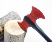 Wooden Hair Stick - Petite Hair Axe - Durin - Ebony and Redheart  - No 72