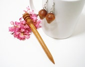 Sale 25% off Hair Stick and Earring Set Turned Wooden Mini - Brazilian Cherry - No 2