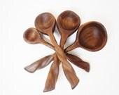 Wood Measuring Spoon Set - Black Walnut - Hand Carved - No 22