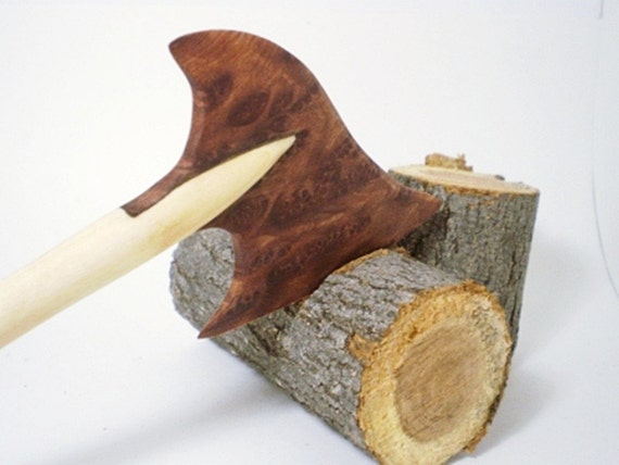 Wooden Hair Stick - Hair Axe - Maple and Redwood Burl - No 21