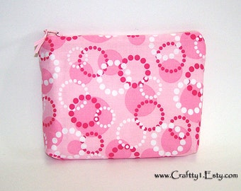 Pink Cirlces - Ladies Zip Pouch (SMALL)