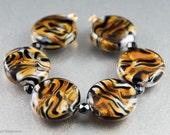 Tiger Stripes - 6 Lampwork Beads