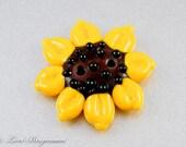 Sunflower 2-Hole Lampwork Glass Button, Solar Yellow, Brown, Flower Bead, Handmade SRA