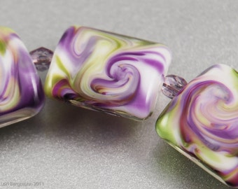 Violet Swirls - Handmade Glass Lampwork Beads, Square Nuggets, Purple, Green, SRA