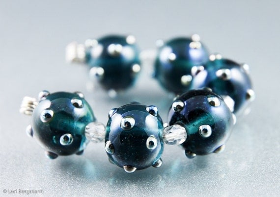 Handmade Lampwork Beads Sodalite Navy Blue and Silver Metallic Dots, SRA