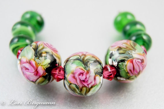 Handmade Lampwork Beads, Soft Pink Watercolor Rose Set, SRA