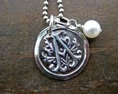 Vintage Initial Pendant with pearl by Sistercreation on etsy