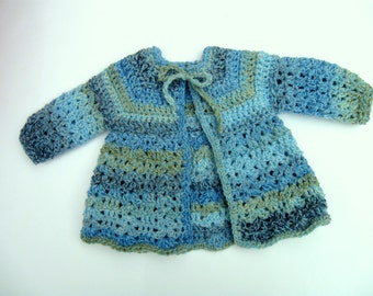 Baby Sweater -  Handmade -  Size  0 to 3 Months  - in Smokey Blue -  Gray - Sage Green- Crochet Sweater- Baby Shower Gift -  NormasTreasures