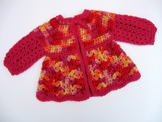 Funky Baby Sweater in Crochet, Handmade, Unique, One of a Kind, Doll Sweater  by NormasTreasures on etsy