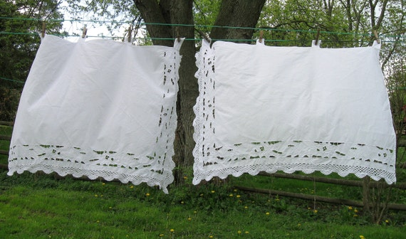 Vintage Curtains, Tab Curtains, Cutwork, White on White, Crochet Lace, Shabby Chic, French Decor, on NormasTeasures on etsy